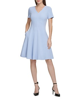 Donna Karan - Pleated Short-Sleeve Dress