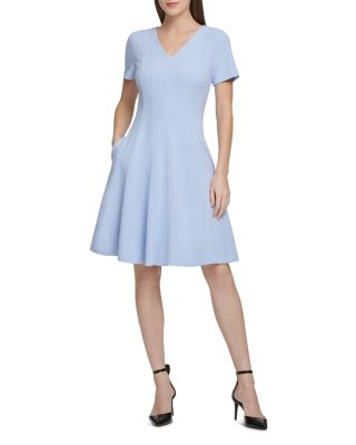 Pleated Short Sleeve Dress by Donna Karan