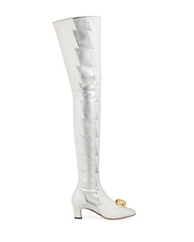 Gucci - Women's Half Moon GG Over-the-Knee Leather Bolt Boots