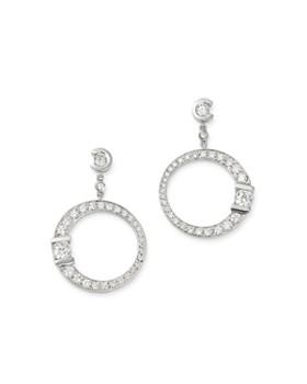 Roberto Coin - 18K White Gold Pavé Diamond Signature Drop Earrings