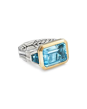 David Yurman - Sterling Silver Novella Three-Stone Ring with Gemstones & 18K Yellow Gold