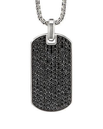 David Yurman - Sterling Silver Pavé Streamline® Tag Pendant with Black Diamonds