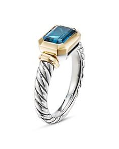 David Yurman - Sterling Silver Novella Ring with Hampton Blue Topaz & 18K Yellow Gold