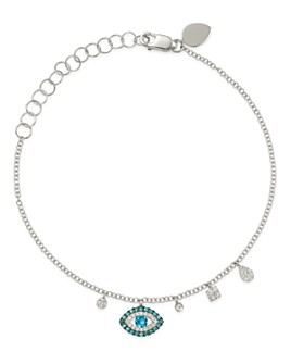 Meira T - 14K White Gold & Blue Sapphire Evil Eye Bracelet