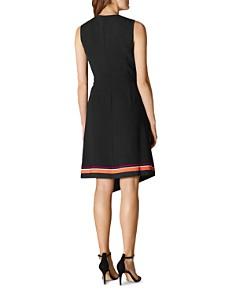 KAREN MILLEN - Striped Detail Faux-Wrap Dress