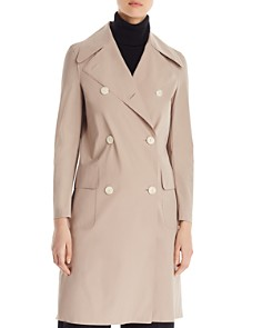 HARRIS WHARF - Light Technic Double-Breasted Button Front Military Coat