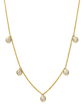 Bloomingdale's - Diamond Bezel Set Droplet Necklace in 14K Yellow Gold, 0.75 ct. t.w. - 100% Exclusive
