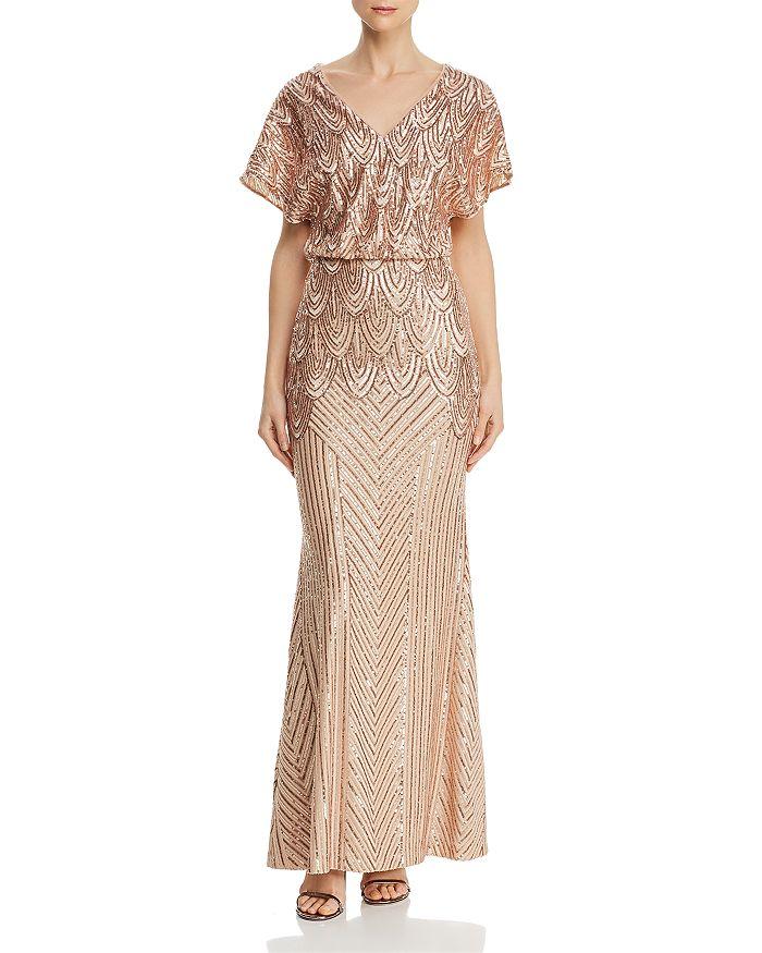 AQUA - Sequined Blouson Gown - 100% Exclusive
