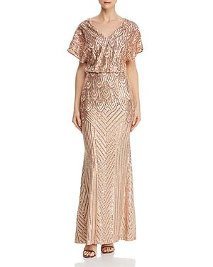 1920s Evening Dresses & Formal Gowns Aqua Sequined Blouson Gown - 100 Exclusive AUD 180.48 AT vintagedancer.com
