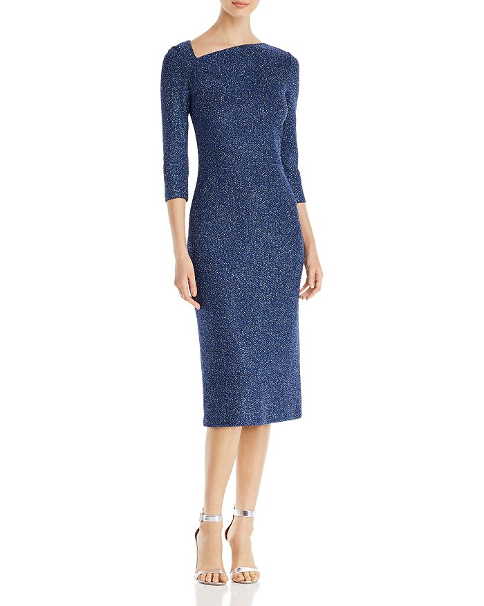 St. John - Sequined Asymmetric-Neck Knit Midi Dress