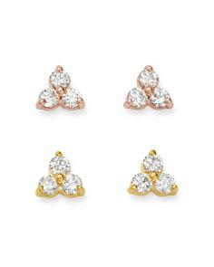 Bloomingdale's - Diamond Three-Stone Stud Earrings in 14K Gold