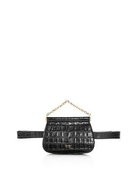 Max Mara - Anita Croc-Embossed Leather Belt Bag