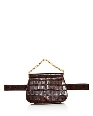Max Mara Anita Croc-Embossed Leather Belt Bag