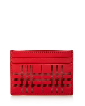 Burberry - Perforated Check Leather Sandon Card Case