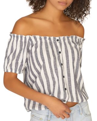 Striped Off The Shoulder Top by Sanctuary