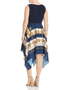 Adrianna Papell Plus - Scarf-Print Handkerchief Combo Dress
