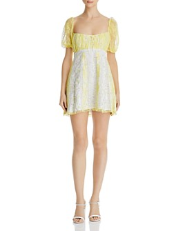 For Love & Lemons - Limoncella Floral-and-Lace Dress