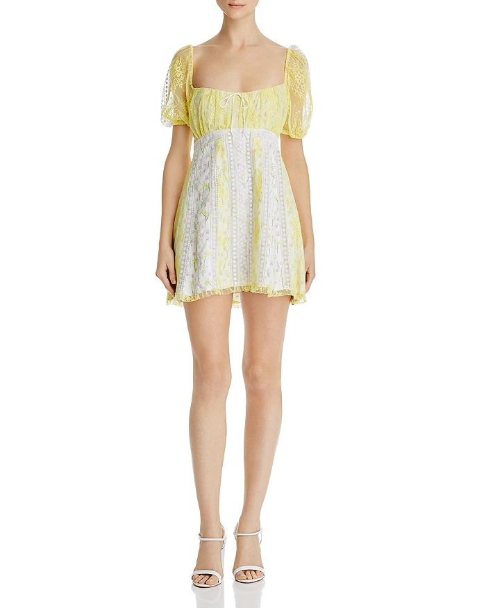 For Love & Lemons - Limoncella Floral-and-Lace Dress
