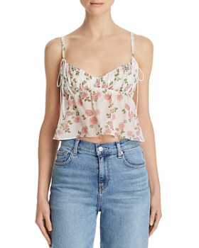 For Love & Lemons - Biscotti Rose-Print Cropped Cami