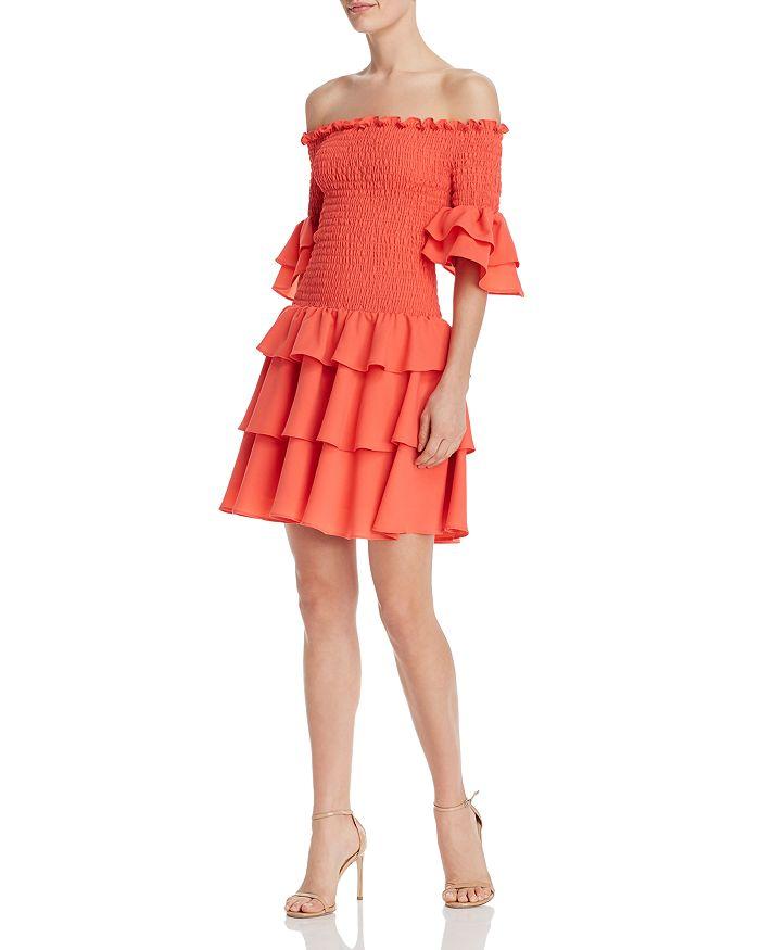 AQUA - Off-the-Shoulder Smocked Ruffled Dress - 100% Exclusive