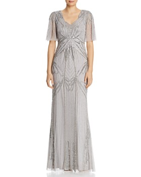 b2430977 Adrianna Papell - Beaded Flutter-Sleeve Gown ...