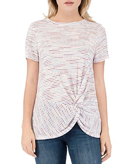 B Collection by Bobeau - Rachelle Striped Twist-Front Tee