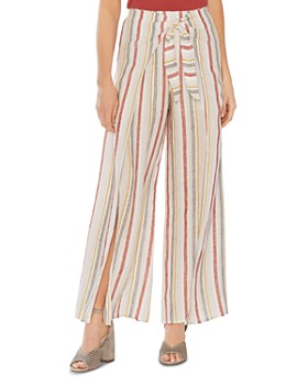 VINCE CAMUTO - Canyon Stripe Tie-Front Wide-Leg Pants
