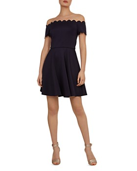 65f97effa77e Ted Baker - Fellama Bardot Scalloped Fit-and-Flare Dress ...