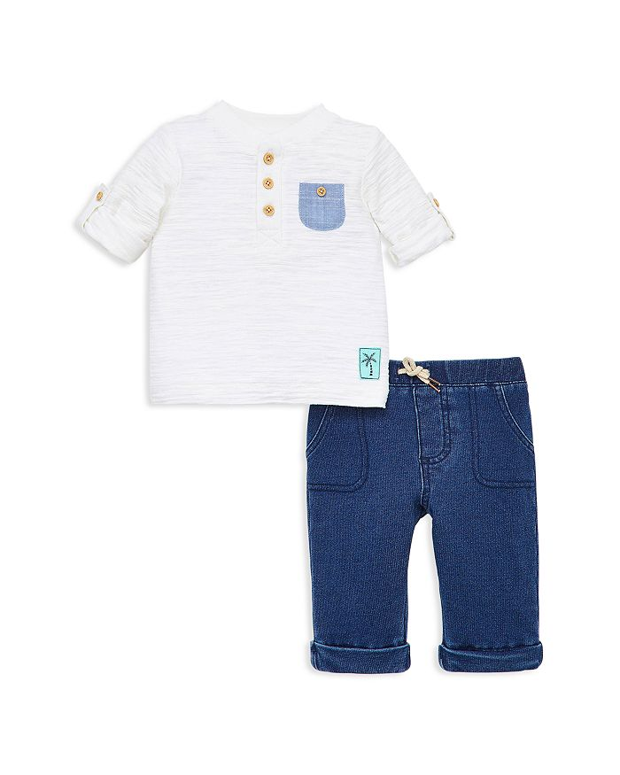Little Me - Boys' Island Pocket Tee & Denim Sweatpants Set - Baby