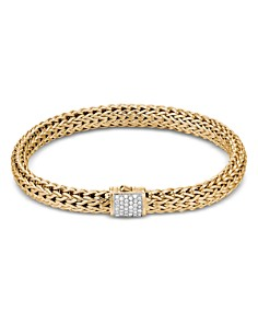 JOHN HARDY - 18K Yellow Gold Classic Chain Diamond Small Bracelet