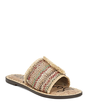 Sam Edelman Sandals WOMEN'S GLENDA RAFFIA FRAYED SLIDE SANDALS