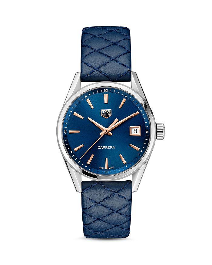 TAG Heuer - Carrera Quartz Ladies' Blue Leather Watch, 36mm