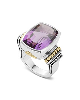 LAGOS - Sterling Silver & 18K Yellow Gold Caviar Color Amethyst Ring