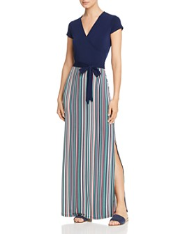 Leota - Solid-and-Stripe Maxi Dress