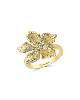 Bloomingdale's - Diamond Flower Ring in 14K Textured Yellow Gold, 0.20 ct. t.w. - 100% Exclusive