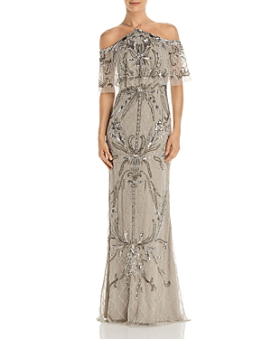 Cold Shoulder Beaded Gown