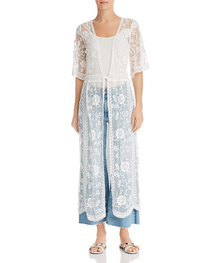AQUA - Embroidered-Mesh Long Kimono - 100% Exclusive