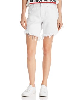 One Teaspoon - Frankies High-Rise Frayed Denim Shorts in White Beauty