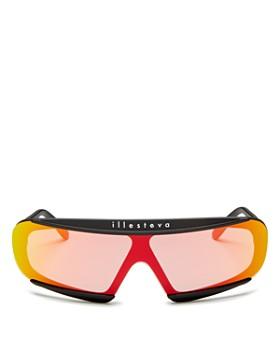 Illesteva - Women's Courchevel Mirrored Shield Sunglasses, 160mm
