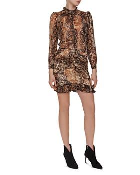 ba&sh - Rackel Puff-Sleeve Animal-Print Dress