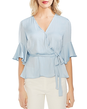 Vince Camuto Tops RUFFLE-SLEEVE WRAP TOP