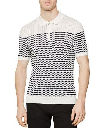 REISS - McAndrew Broken-Stripe Slim Fit Half-Zip Polo Shirt