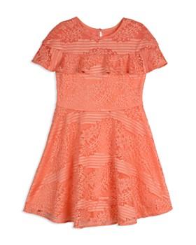 Pippa & Julie - Girls' Lace Illusion Sleeve Dress - Big Kid