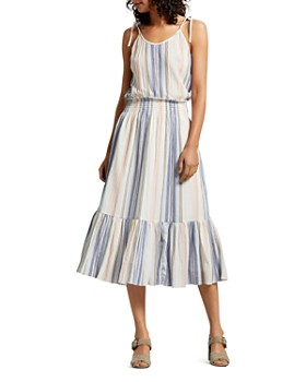 Michael Stars - Striped Smocked-Waist Midi Dress