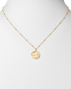 "Zoe Lev - 14K Yellow Gold Diamond Moon Medallion Necklace, 18"""