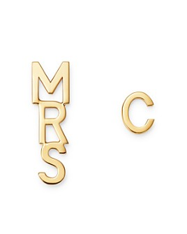 Zoe Lev - 14K Yellow Gold Mrs. & Initial Earrings