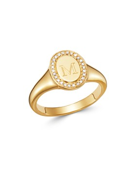 Zoe Lev - 14K Yellow Gold Diamond Initial Signet Ring