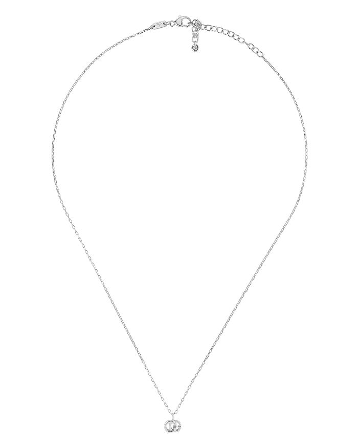 "Gucci - 18K White Gold Running G Diamond Necklace, 16.5"""