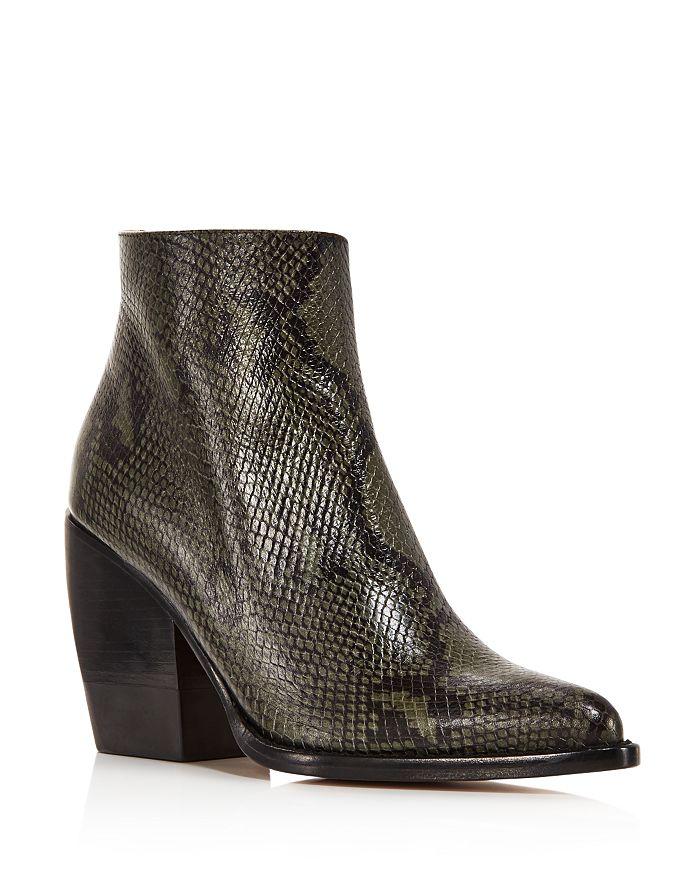 ChloÉ Rylee 90Mm Block Heel Western Booties In Wide Forest Snakeskin Embossed Leather