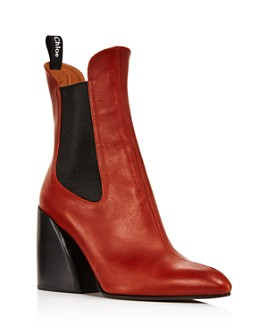 Chloé - Women's Wave Leather Block-Heel Ankle Booties